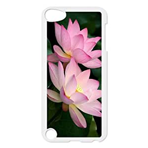 HXYHTY Customized Print Water Lily Pattern Hard Case for iPod Touch 5
