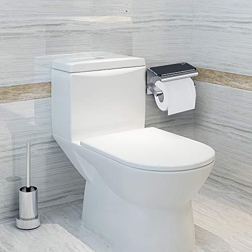 Portarrollos para Papel Higiénico, portarrollos baño adhesivo, Acero inoxidable SUS304, Porta Rollos de Papel Higienico con el Teléfono Móvil Estante de Almacenamiento (Plata) (Plata1)
