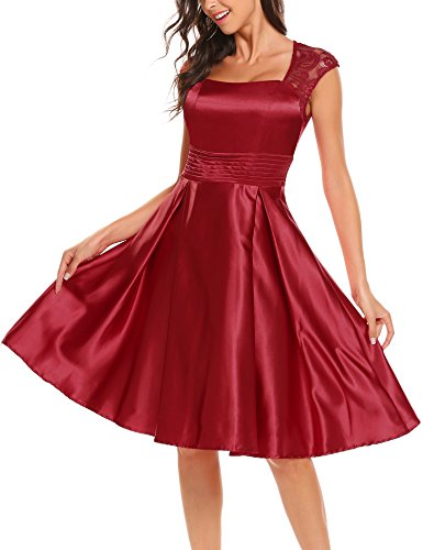 ANGVNS Women's Elegant Illusion Floral Lace Cap Sleeve Bridesmaid Prom Dress Wine Red XXL (Dress Floral Satin)