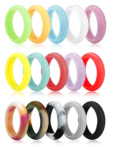 Multicolored RNGEO Silicone Wedding Ring for Women Antibacterial Comfortable Durable Fashionable Elegant Affordable Skin Safe /& Friendly 15 Pack Thin Stackable Braided Rubber Wedding Bands