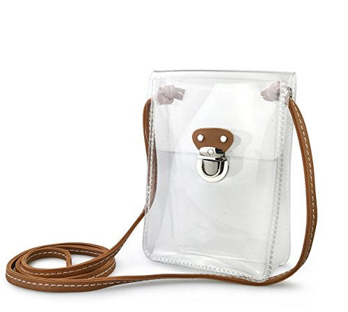 Clear Mini Cross Body Single Shoulder Bag for Stadium Approved (Clear) by Hoxis