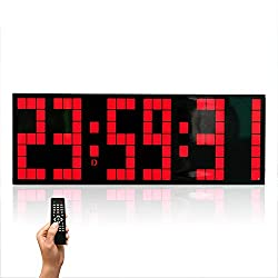 ETH Creative Luminous Lattice Digital LED Large Screen Wall Clock, Remote Control Multi-Function Electronic Clock Mute, for Home/Outdoor/Public Occasions (24 8.5 5.5CM) Durable (Color : Red)
