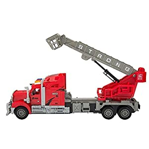 Wonderful Gift Shop Remote Control Big Rig Transport Truck with Crane and Basket 1:15 Scale - Red