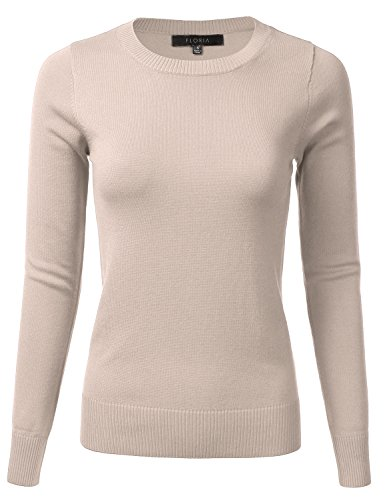 FLORIA Womens Long Sleeve Soft Crewneck Ribbed Trim Border Knit Top Sweater Taupe S