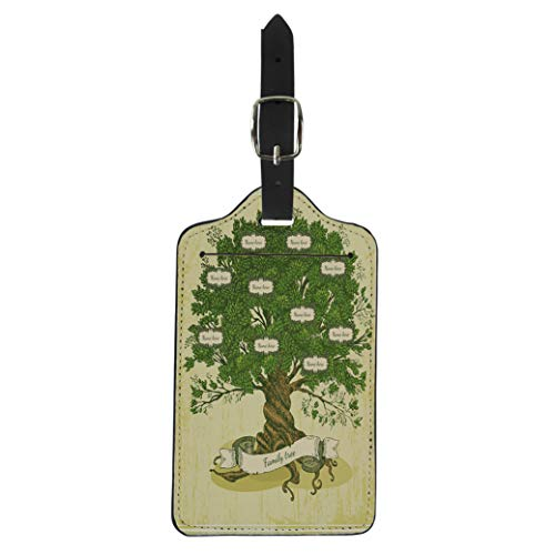 Pinbeam Luggage Tag Green Genealogical Tree on Old Family in Vintage Suitcase Baggage Label