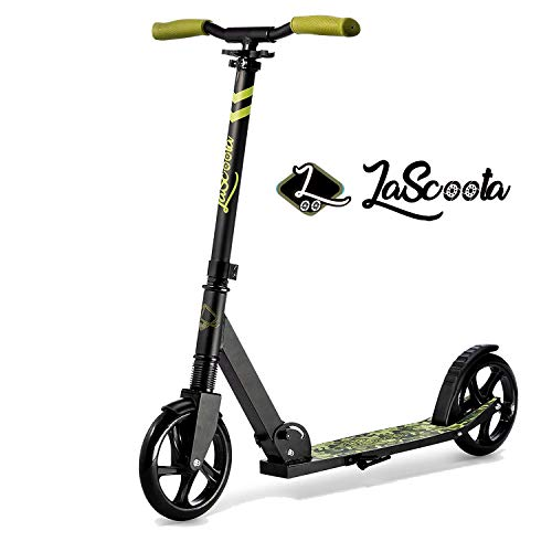 "Lascoota Scooters for Kids 8 Years and up - Featuring Quick-Release Folding System - Dual Suspension System + Scooter Shoulder Strap 7.9"" Big Wheels Great Scooters for Adults and Teens (Army)"