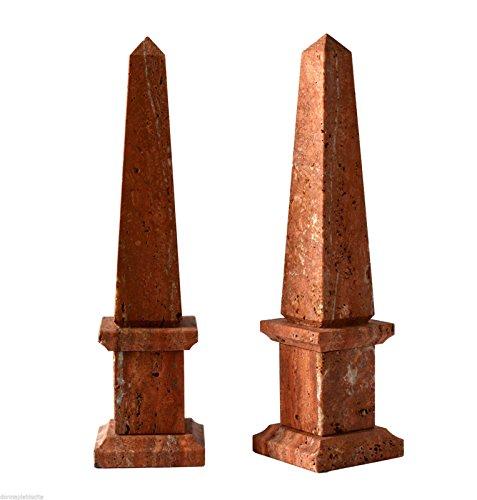 Obelisk Design (OBELISCO in TRAVERTINO ROSSO Old Obelisk Classic Sculpture Home Old Design H25 cm)