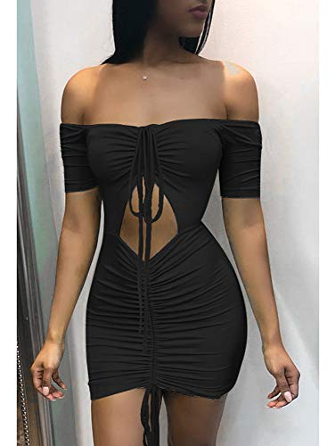 Sexy Bodycon Out Ruched Women's Mini Shoulder Off Party Black Dress BEAGIMEG Cut 7w1xqgUn5