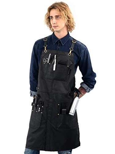 - Barber Apron - Leather Straps, Pockets, Reinforcements - Crossback - Coated Black Twill, Tool Pockets, Split-Leg - Adjustable for Men, Women - Makeup, Bartender, Hairstylist, Salon