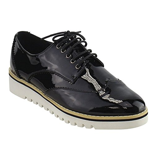 CAPE ROBBIN Venus-1 Womens Fashion Patent Leather Lugged Sole Lace Up Platform Oxford Shoes,Black,8 For Sale