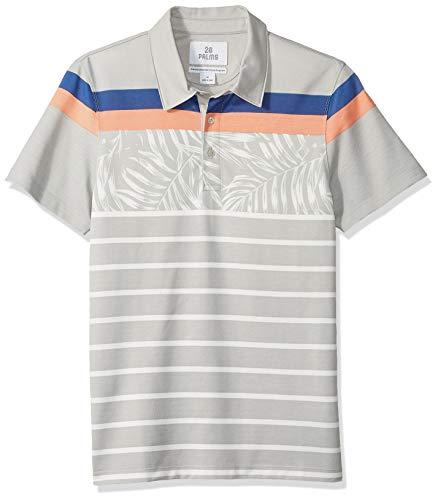 28 Palms Men's Standard-Fit Performance Cotton Tropical Print Pique Golf Polo Shirt, Grey Vintage Floral Stripe, Medium ()