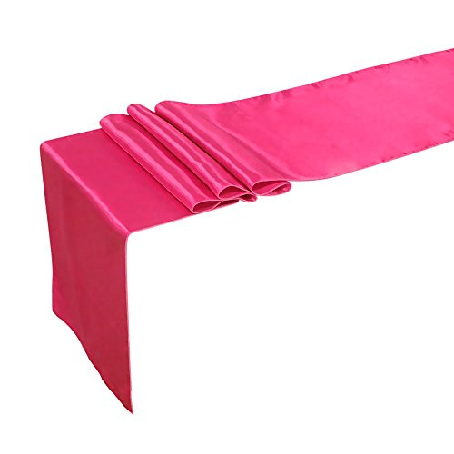 Ling's moment 12 x 108 Inch Satin Fuchsia Pink Table Runner, Pack of 1, For Wedding Banquet Decorations, Bridal Shower, Christmas, Birthday, Graduation, Prom, Party Table Decor