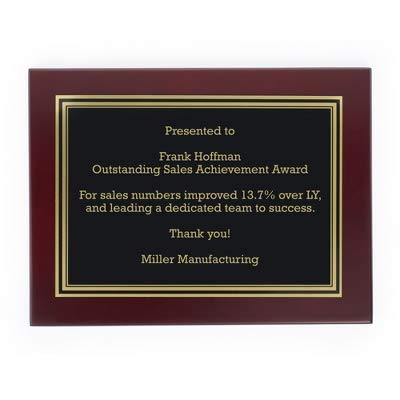 Things Remembered Personalized 9 x 12 Landscape Mahogany Plaque with Engraving Included ()