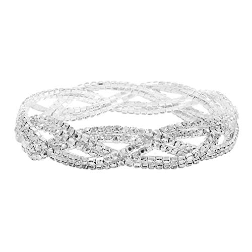 So Pretty Rhinestone Stretch Bracelet Silver Plated Clear Crystal Bridal Bracelet for Women