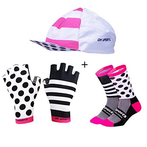Hontlsen Stylish Cycling Gloves Half Finger Men Women Shockproof Bike Gloves Gel Racing Bicycle Gloves with Cycling Socks Caps Set Mix021 M