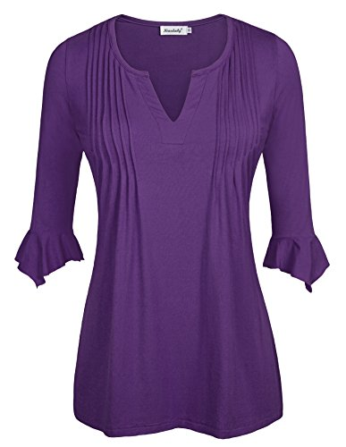 Ninedaily Women's 3/4 Sleeve V Neck Pleated Tunic Tops for Leggings Elegant Ladies Blouse and Tops Purple Size M