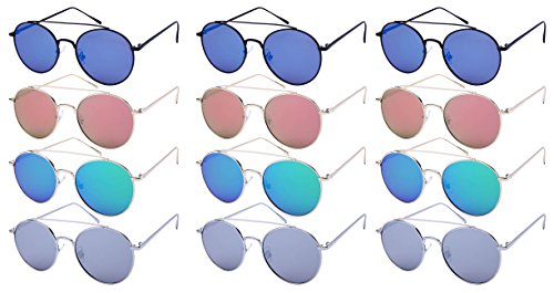 Edge I-Wear 12-Pack Slim Round Metal Brow Bar w/Flat Mirror Lens - Best Sunglasses Face For Shaped Oval