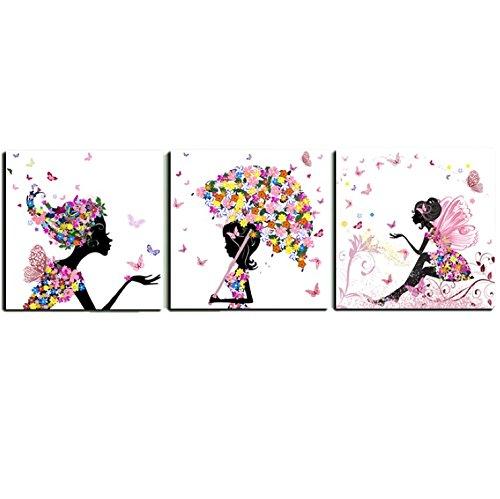 壁掛け アートパネル 【AP009 花の妖精1 30×30㎝×3パネルセット】12㎜キャンバス 印刷布製 キャンバスアート 壁飾り B07DR1ZLMQ 20748 12mmキャンバス|30×30㎝ 30×30㎝ 12mmキャンバス