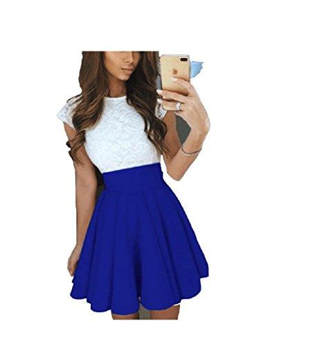 Femmes Bleu Jupe Taille Femmes Une mi Plisse Jupe Jupe Plisse Maxi Ligne Haute Swing Jupe FuweiEncore lgante gawqOEYg