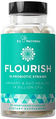 Flourish Probiotics + Prebiotics for Women – Gut & Digestion, Urinary Tract, Reduce Bloating, Vaginal Health – 18 Clinically Proven Strains, 14 Billion CFU – 30 Shelf-Stable Mini Vegetarian Capsules