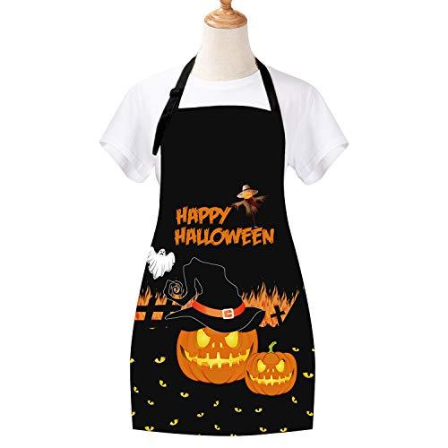 Sevenstars Happy Halloween Apron Pumpkin Cooking Aprons Witches Hat Cross Baking Apron Waterproof Adjustable Kitchen Aprons for Women Men