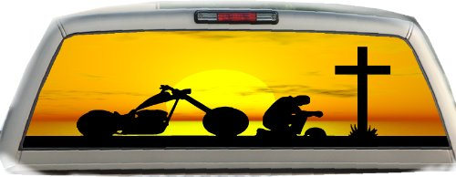 Praying Biker- 22 Inches-by-65 Inches- Rear Window ()