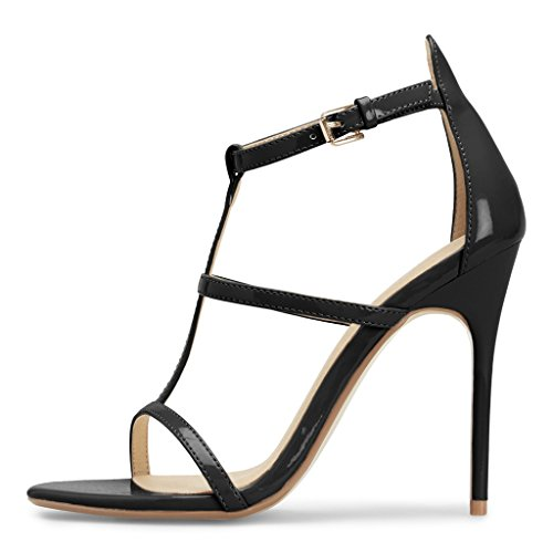 Toe Shoes Ankle US Heels Stiletto Size Sandals FSJ Out Open 15 for Black Hollow Straps Fashion 4 Women w7w1xfR0q