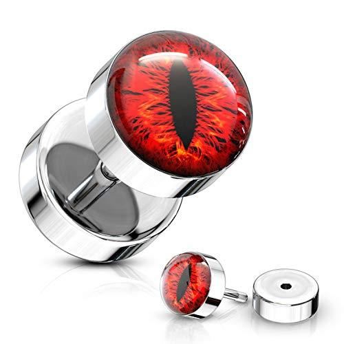 BYB Jewelry Pair of Snake Eye Design Steel Fake Plug Earrings Cheater Gauges (0G Look) (Red)