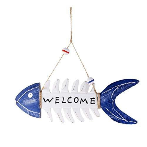 KODORIA Welcome Wooden Plaque Sign Wall Art Craft Sign Design Beach Tropical Decor - Fish
