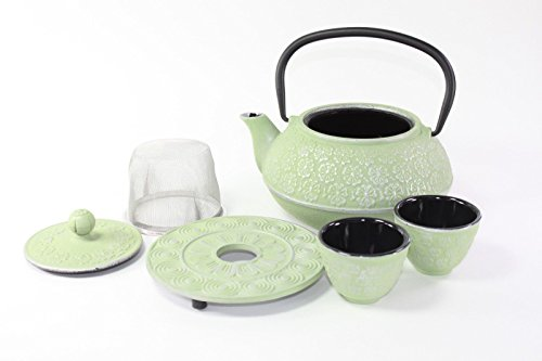 Japanese Antique 24 Fl Oz Green Primula Primrose Flower Cast Iron Teapot Tetsubin with Infuser Tea Set with Trivet