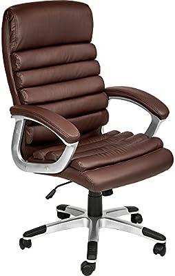 TecTake 800337 Design Bürostuhl Chefsessel mit gepolsterten Armlehnen und Wippmechanik, Softpolsterung Diverse Farben (Braun | Nr. 402150)