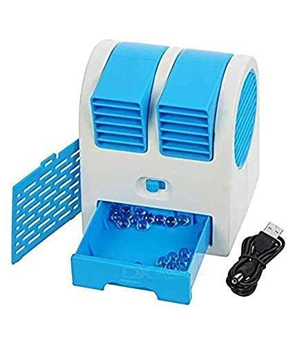 Jecool Portable Plastic Air Conditioner Water Cooler Mini Fan and Dual Bladeless for Use in Car Home Office (Small_Multicolour) (Blue)