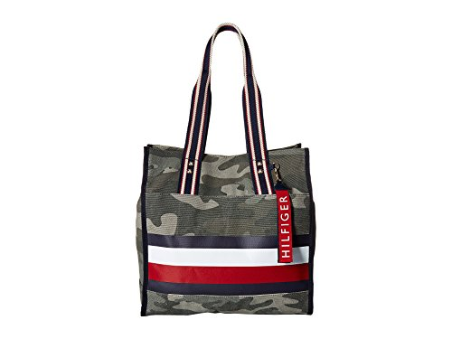 (Tommy Hilfiger Women's Carmel North/South Camo Canvas Stripe Tote Green One Size)