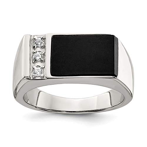 - 925 Sterling Silver Black Onyx Cubic Zirconia Cz Mens Band Ring Size 11.00 Man Fine Jewelry Dad Mens Gift Set