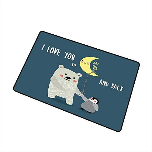 I Love You Front Door mat Carpet Teddy Bear and Penguin Friends Arctic Valentines Under Moon Cartoon Machine Washable Door mat W23.6 x L35.4 Inch Slate Blue Grey (Best Fiesta Friends Teddy Bears)