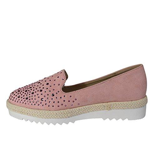 Schuhtraum Damen Slipper Plateau Sneakers Ballerinas Glitzer Nieten ST551  Rosa ... e5293ba5b2