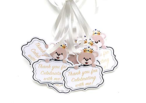 Bear Royal Prince Thank You Tags 12 pcs, Little Prince Favors Birthday Decoration Party Supplies, Blue Teddy Baby Shower Themed Celebration ()