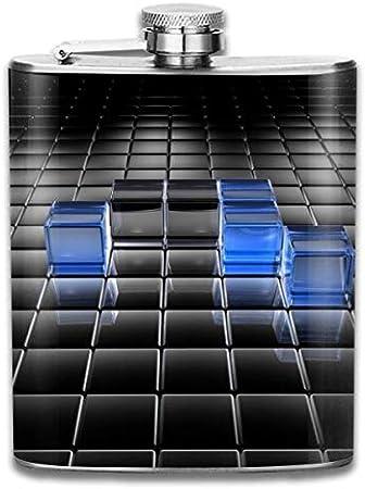 Caja cuadrada azul, botella de whisky portátil de acero inoxidable para hombres y mujeres de 8 oz