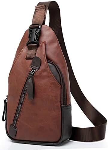 Men Sling Bag Small Crossbody Street/Travel Backpack Outdoor Sports Casual Leather Unbalance Sling Bag Shoulder Bag Chest Bag for Men