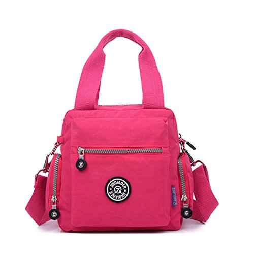 handle with Handbag Plum Nylon Waterproof Chou Strap Shoulder Crossbody Messenger Bag Detachable Top Tiny RAnIBx6x