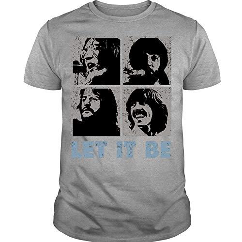 English Rock Band Shirt, The Beatles Band Shirt, John Lennon, Let it be Paul McCartney, George Harrison and Ringo Starr (M, Sport Gray)