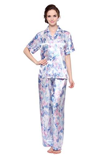 Sunrise Women's Short Sleeve Classtic Satin Pajama Set (XX-Large, Blue Floral Print)