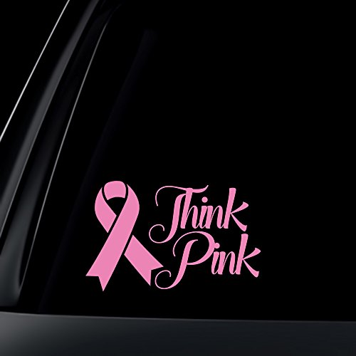 World Design Think Pink Breast Cancer Pink Ribbon Car Decal/Sticker - Light Pink