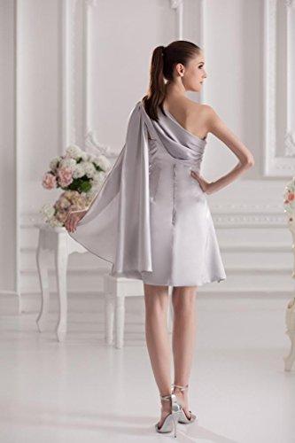 BRIDE Schulter Neue Satin ein GEORGE Kurze Abschlussball Silber Entwurf Kleid I6xq1