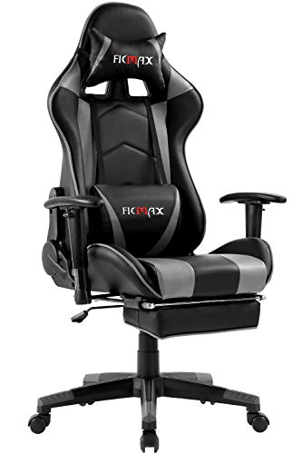 Ficmax Ergonomic Gaming Chair Massage Computer Gaming Chair Reclining Racing Office Chair with Footrest Pro Gamer E-Sport Chair High Back Gaming Desk Chair with Headrest and Lumbar Support(Black/Gray)