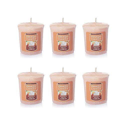 Yankee Candle Lot of 6 Peach Cobbler Sampler Votive Candles 1.75 Ounce