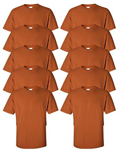Gildan mens Ultra Cotton 6 oz. T-Shirt(G200)-TEXAS ORANGE-S-10PK