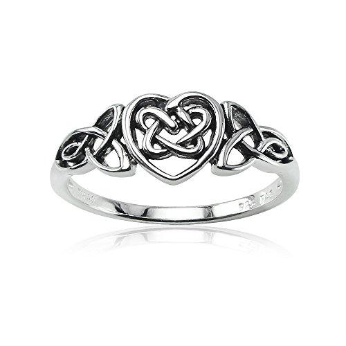 Celtic Trinity Knot - Sterling Silver Celtic Trinity Knot Heart Ring, Size 6