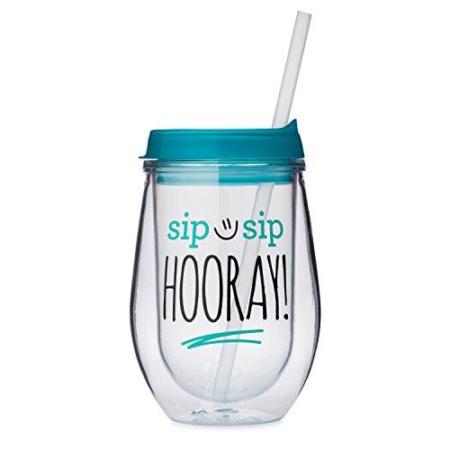 Sip Sip Hooray Bev2go Wine Sippy Cup Tumbler (10 oz, Aqua Lid)