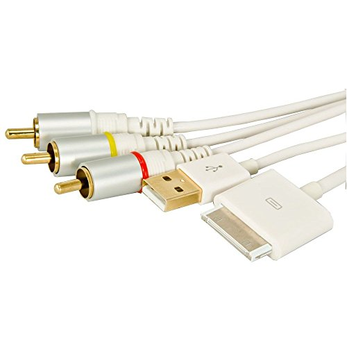 Ipod Video Av Cable - Caxico TV RCA Video Composite AV Cable +USB for iPad? 2/3, iPhone? 4, 4S, 3GS, iPod? Touch